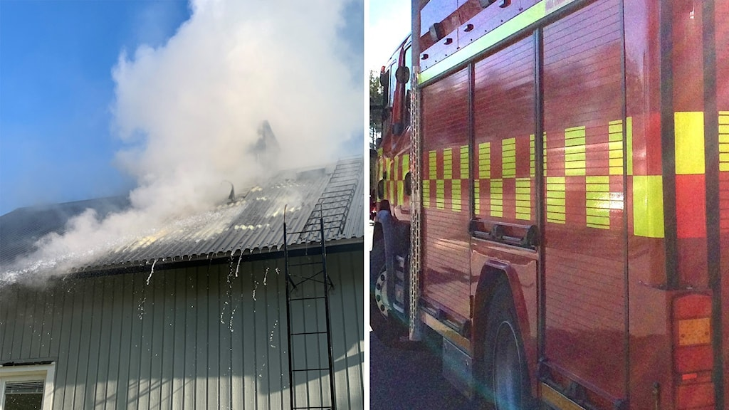 Villatak som det kommer tjock rök ur och långsidan på rödgul brandbil.