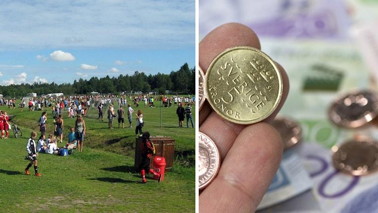 Arkivbilder på ett fyllt fotbollsfält och en hög med pengar.