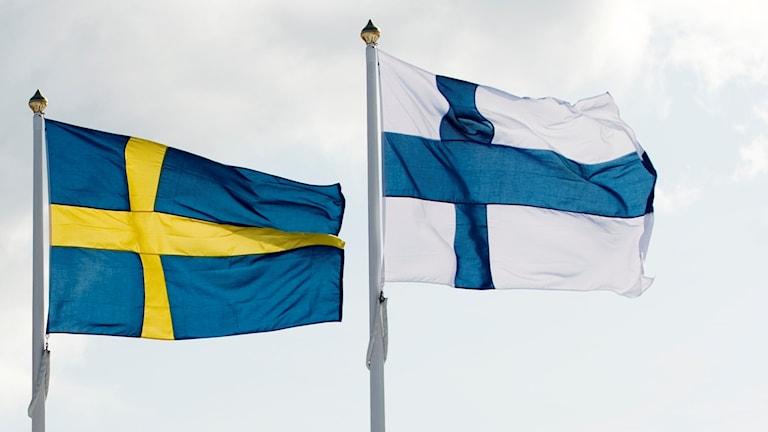 Flaggor Sverige och Finland mot en himmel
