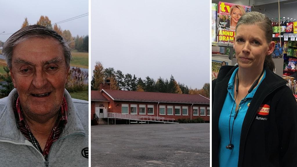 Till vänster porträtt äldre, leende man. I mitten en skylt: Åmsele småbarnsskola. Till höger en kvinna i 40-årsåldern som jobbar i butik.