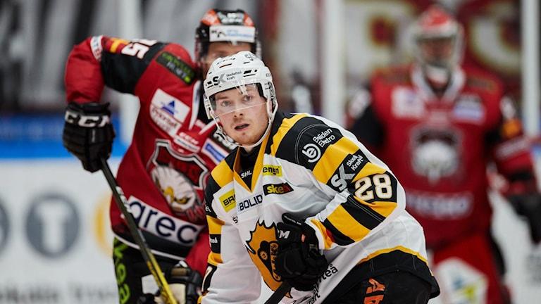 Ishockeyspelare i vitt, med nummer 28 på armen.