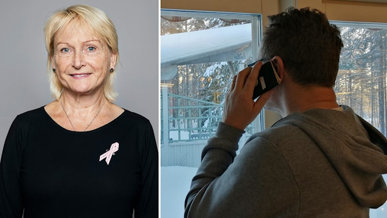 Elizabeth Johansson Cancerfonden och man som pratar i telefon kollage