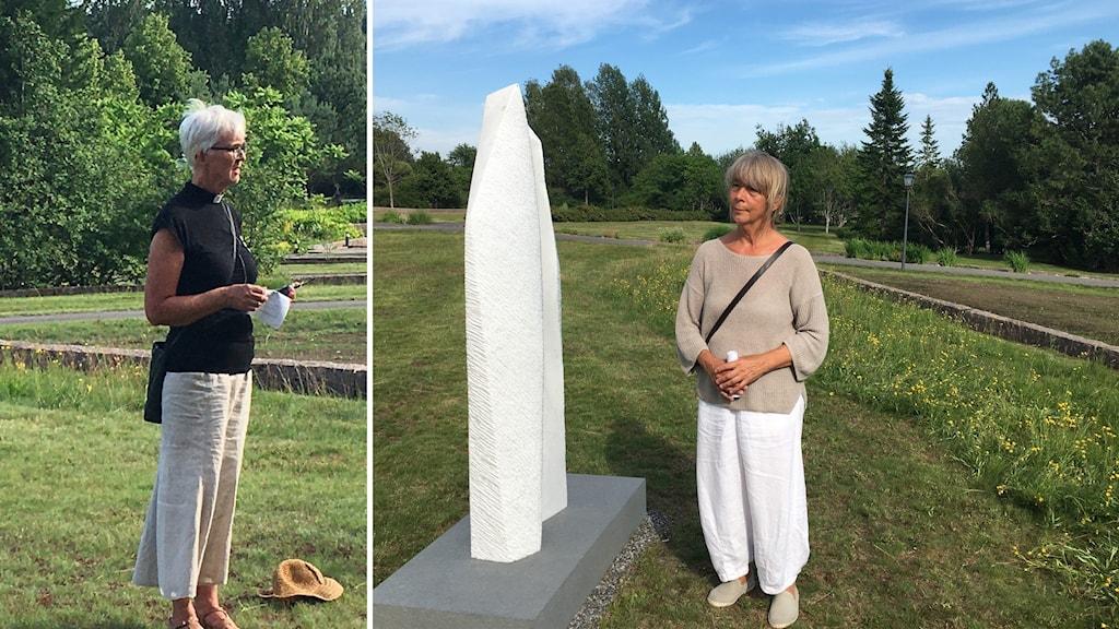 Lena Fagéus är kyrkoherde. Ellips på Backens kyrkogård och konstnären Inger Sannes.