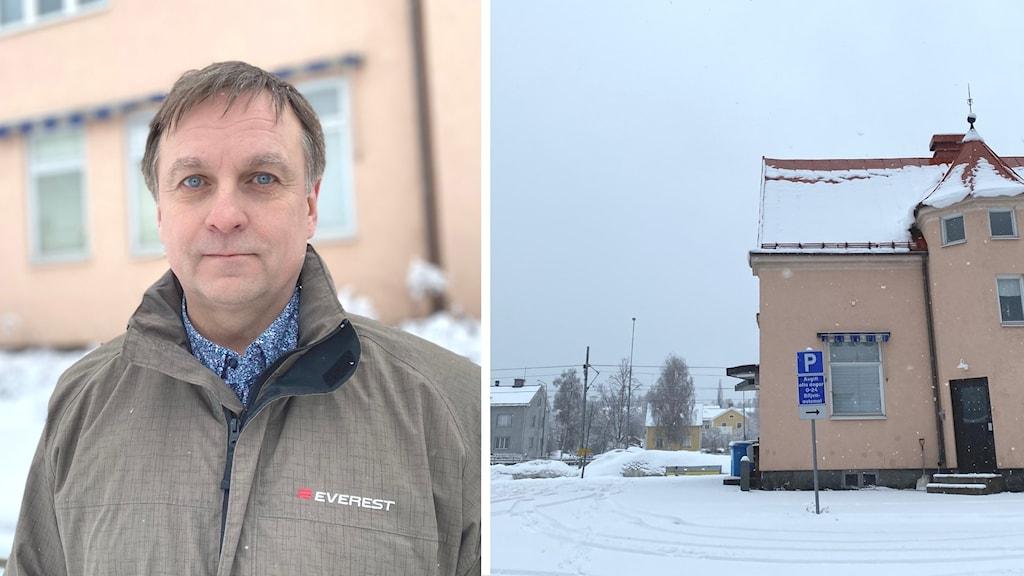 Delad bild på Lorents Burman (S), kommunalråd i Skellefteå samt Skellefteås tågstation.