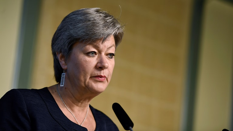 Arbetsmarknads- och etableringsminister Ylva Johansson (S) under en pressträff i Rosenbad.