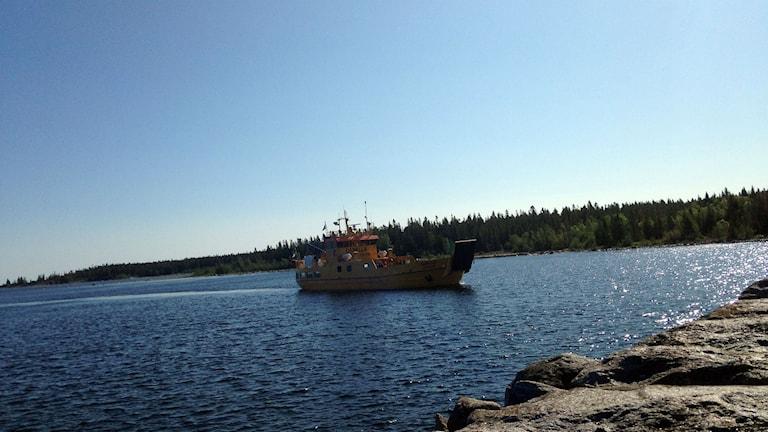 Holmöfärjan Capella på väg in i Byviken, Foto: Anna Burén/SR.