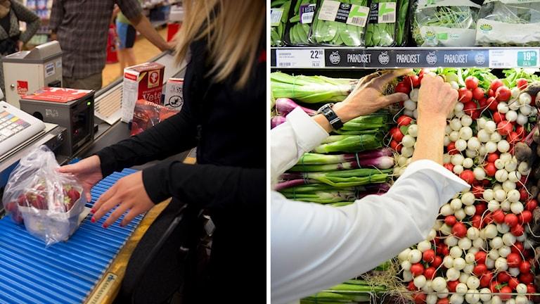 Ett montage där en person jobbar i kassan och en i grönsaksdisken på en livsmedelsbutik.