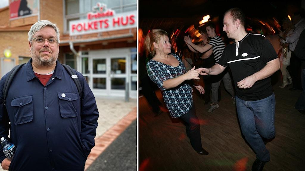 Kollage med två bilder. Till Vänster Magnus Öberg, folkets hus Ersboda, till höger ett par som dansar bugg på lokal.