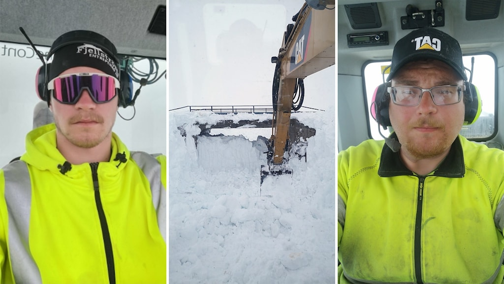 Kristoffer Nejne tv och Felix Fjellström th, inne i hytter, vid Stihkenbäcken, röjer Vildmarksvägen från snö,