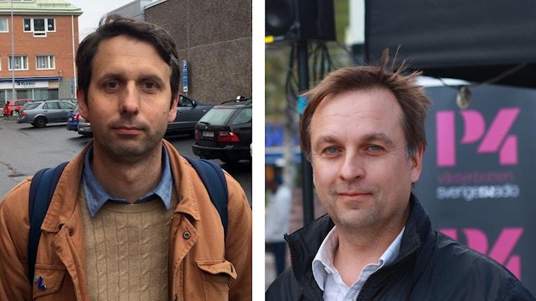 Bildmontage med kommunpolitiker till vänster Andreas Westerberg (L) och till höger Lorents Burman (S).