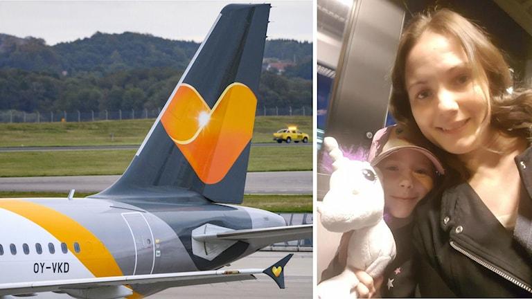 Flyg med resebolaget Ving/Thomas Cooks logga på i montage med Lovisa Jensstad och hennes dotter.