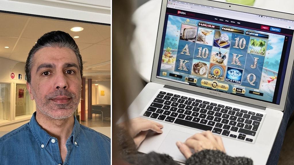 Omid Rezvani i blå skjorta, ordförande Spelberoendegruppen Umeå. Bild på en person som spelar på nätkasino.