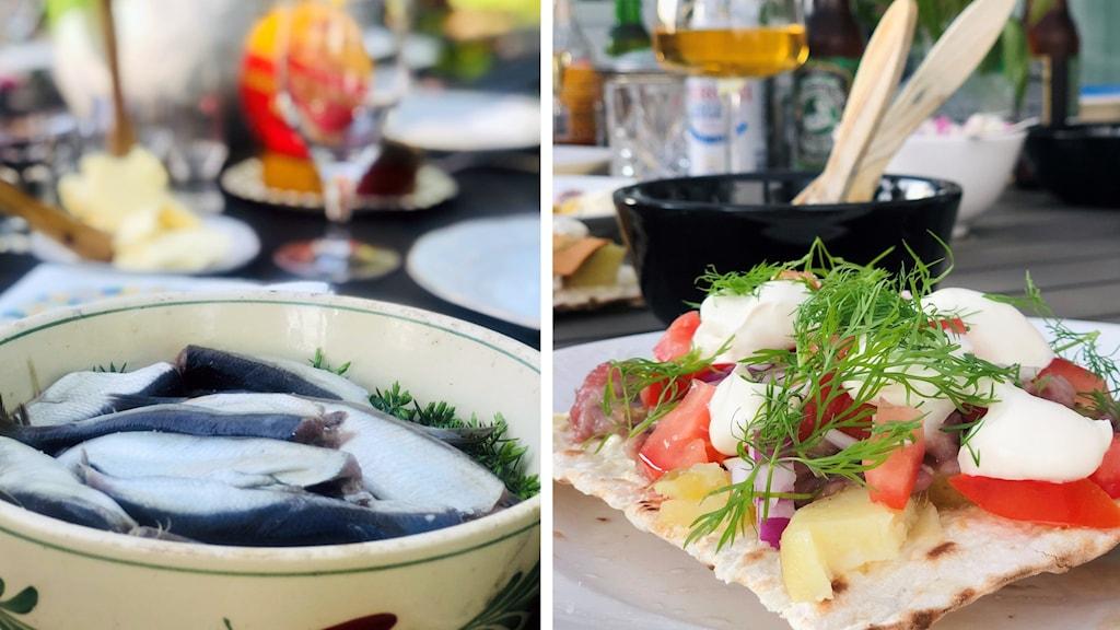 En bild på en skål med surströmming och en bild på en tunnbrödsmörgås med potatis, strömming, tomat, lök, gräddfil och dill. Foto Åsa Swee Sveriges Radio