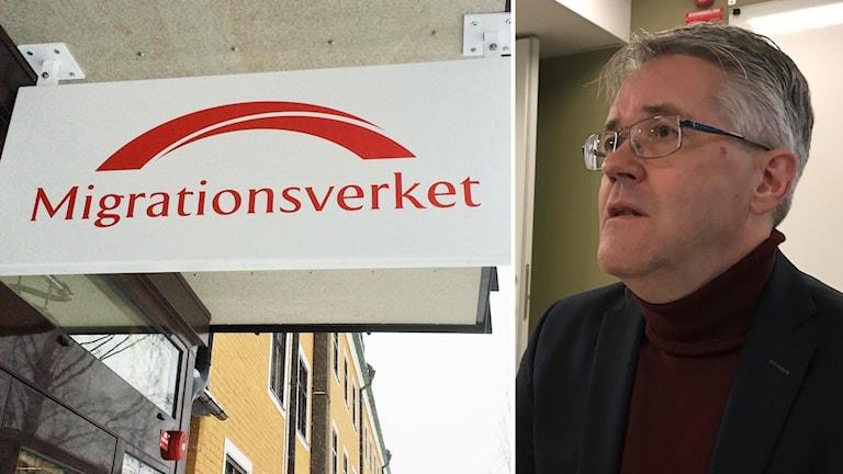 Håkan Hansi och Migrationsverkets skylt kollage