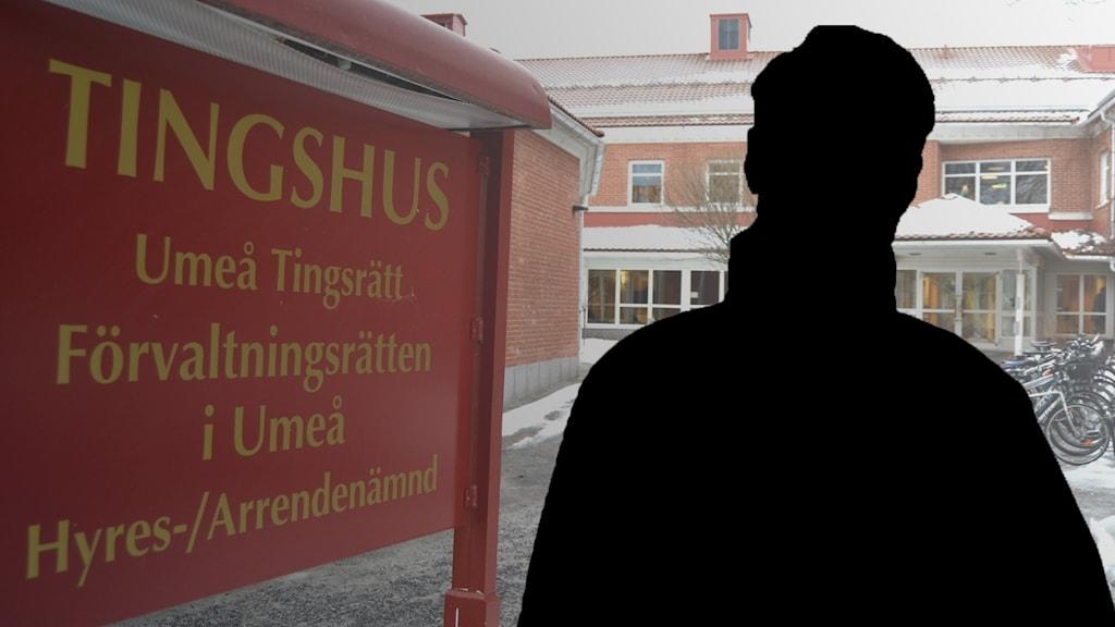Siluett av misstänkt man på bild på Umeå tingsrätt