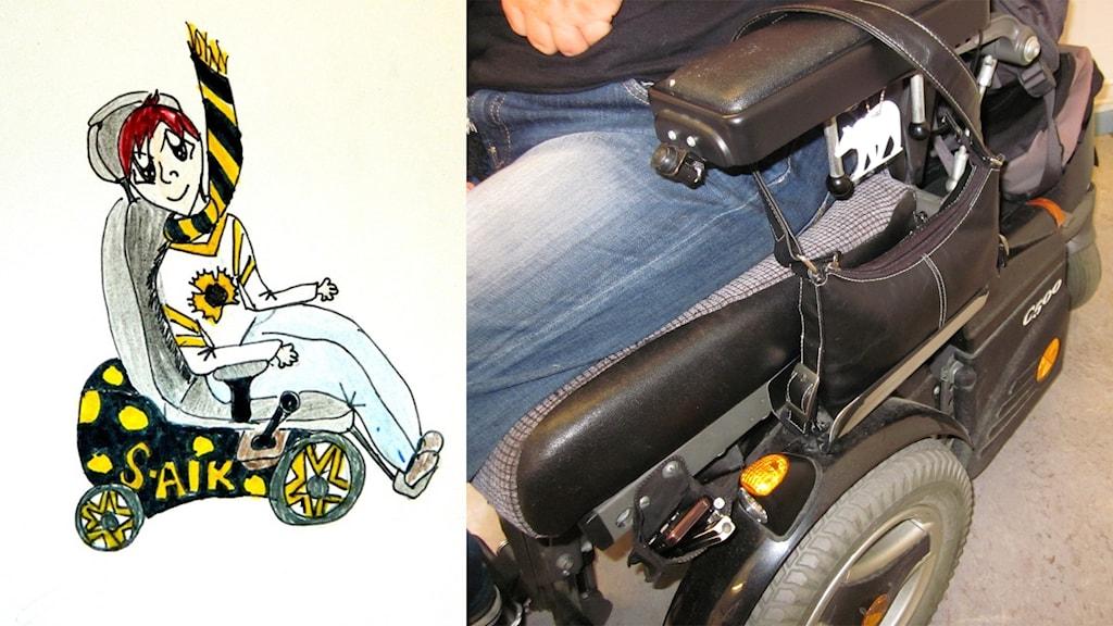 En teckning av en person som sitter i rullstol och har Skellefteå AIK-kläder på sig samt bild på en rullstol med hylla för handväska