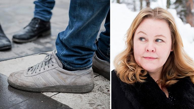 Ett par smutsiga vita skor och Erica Dahlgren i ett kollage