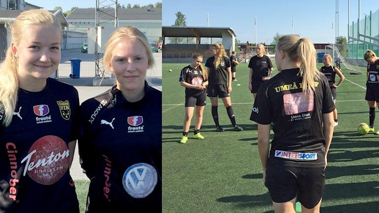 Amelia Hedström och Elin Bäckström Umeå IK IFF Junior.