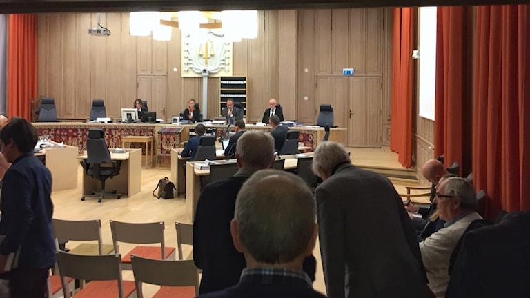 Skellefteå tingsrätt under rättsprocessen där gruvbolaget Boliden stäms av 796 chilenska medborgare