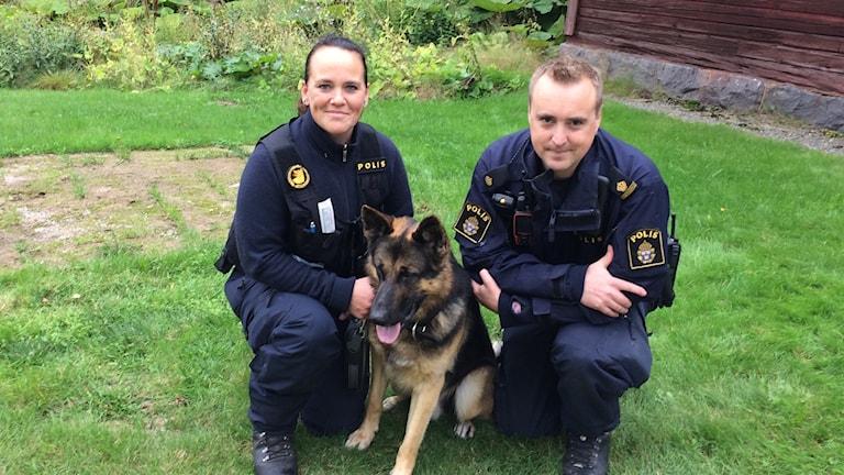 Jenny Edström och Niklas Edling, hundförare vid polisen och Grizz, brottsplatsundersökande hund
