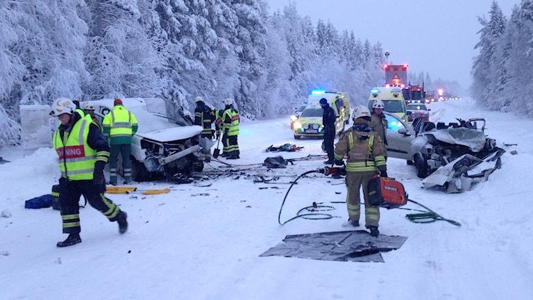 Olycka på riksväg 95 vid Boliden. Foto: Räddningstjänsten.