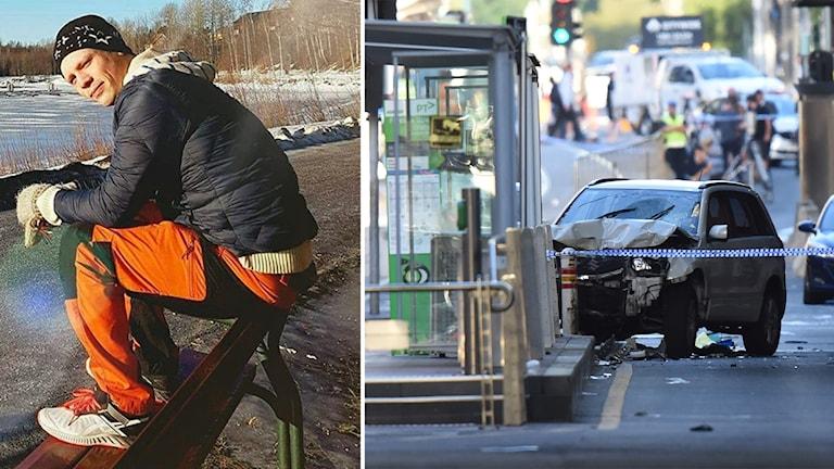 Fredrik Lindell på en parkbänk och en bil som krockat i Melbourne