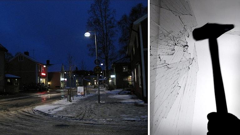 Vindeln i natten och en hammare som krossar ruta. Foto: Anna Burén/Sveriges Radio och Claudio Bresciani/TT