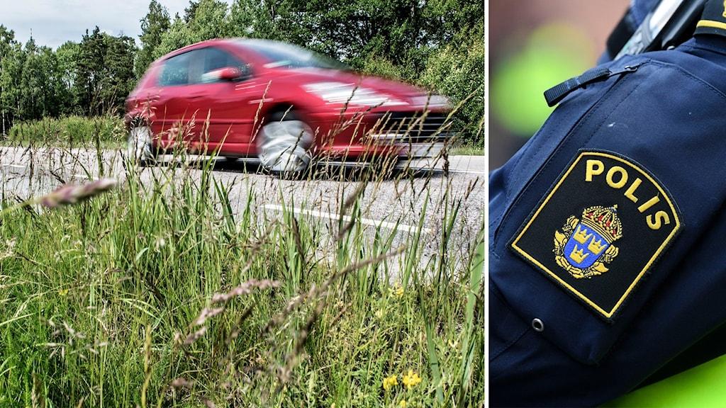 Bildsplitt genrebild fortkörning och polis