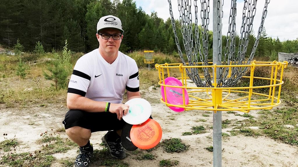 Robin Marksén, Wasteland discgolf i Överklinten, vid en av korgarna