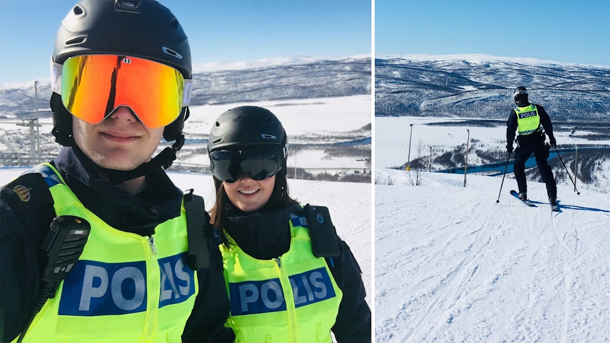 Polisassistenterna Linus Granström och Mikaela Fällman patrullerar i pisten i Hemavan