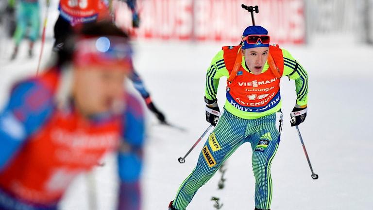 Sebastian Samuelsson bäste svensk i herrarnas 12,5 km jaktstart under världscupen i skidskytte i Östersund. Foto: Anders Wiklund/TT