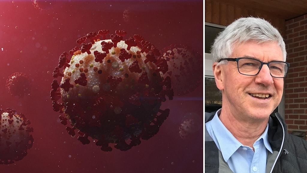 Viruset i teleskopförstoring och en glad man på den andra bilden