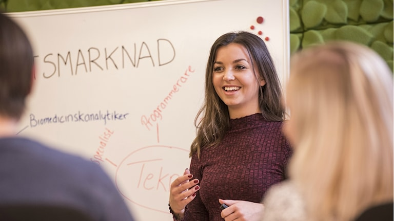 Felicia Söderstedt, projektledare för Destination jobb, undervisar elever.