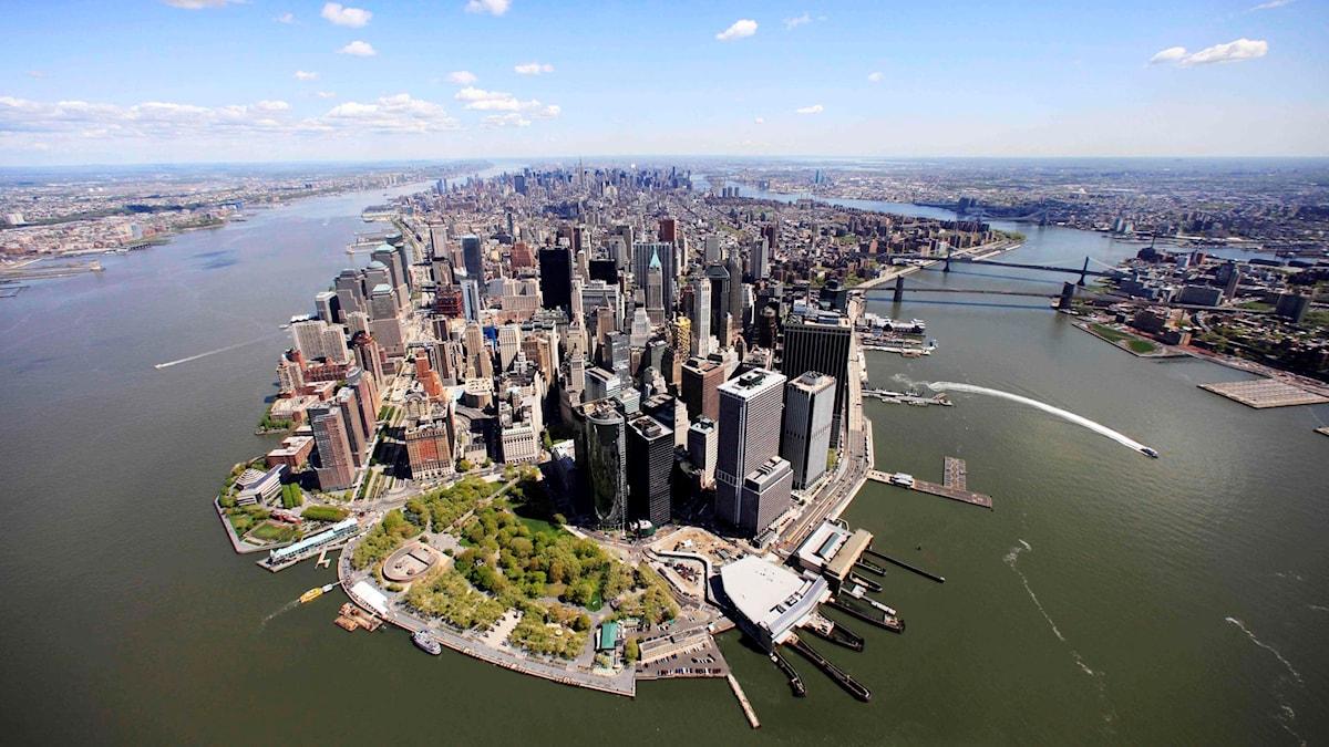 Flygfoto över delar av Manhattan.
