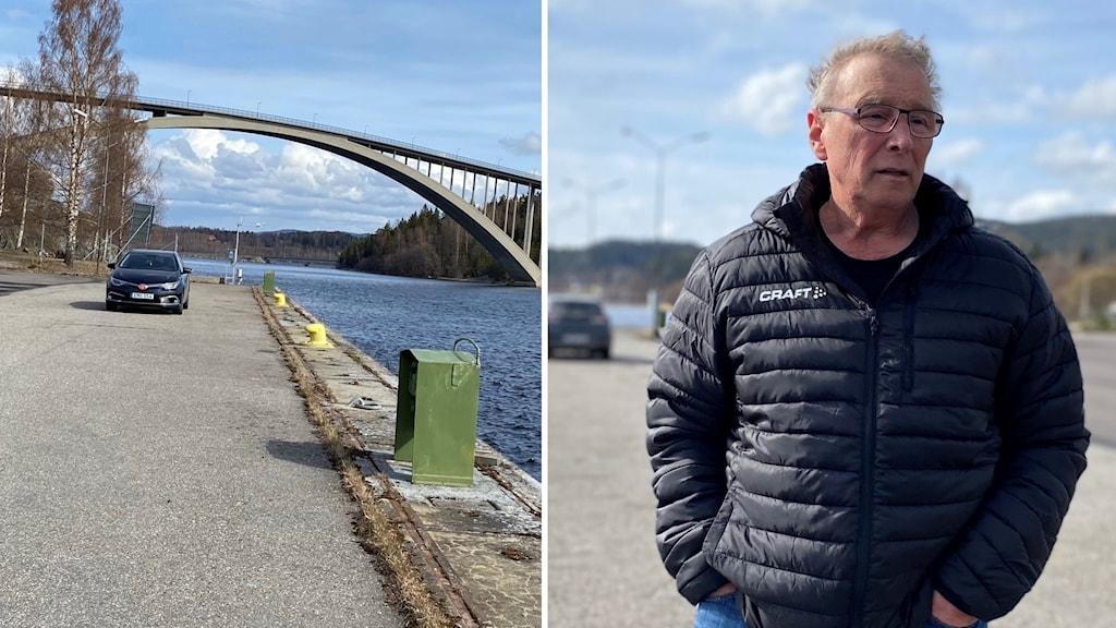 Ett foto över Sandöbron och ett porträttfoto på Sten Sandin.