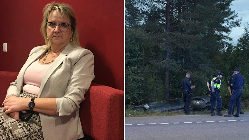 Bildsplit Catharina Kjelsson till vänster, bild på olyckan i Sörberge till höger