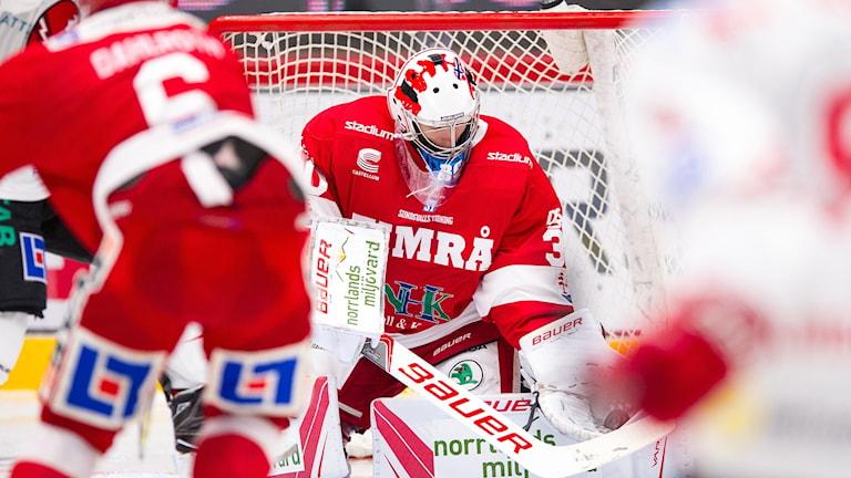 Timrås målvakt Henrik Haukeland räddar under hockeymatch i Hockeyallsvenskan. Foto: Pär Olert/Bildbyrån