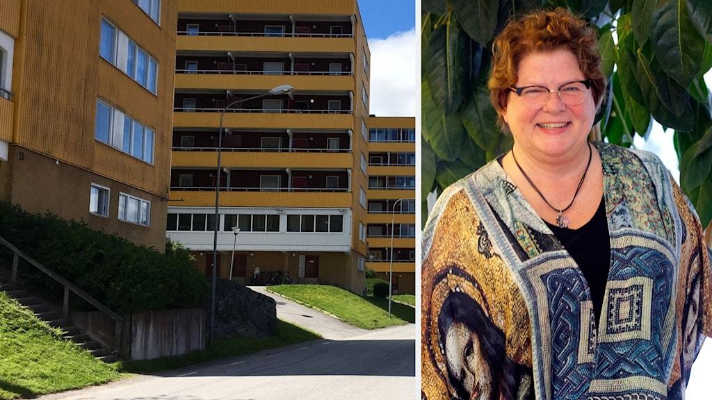 Två bilder som visar dels ett gult flervåningshus med bostäder i Kramfors, dels Inger Bergström, chef för välfärdsförvaltningen.