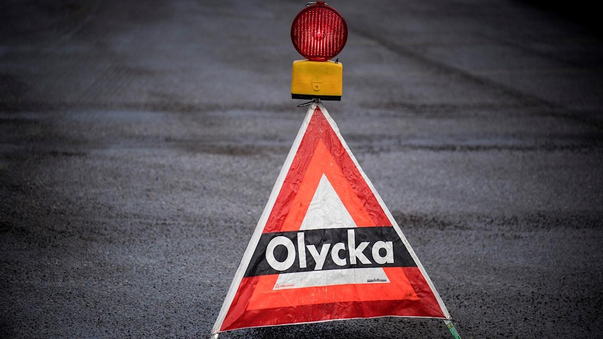 Skylt som varnar för olycka  Foto: Pontus Lundahl/TT