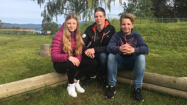 Nelly Edlund,15,  Alex Gustafsson, 15 och Carl Köhlér, 13, som går i Kordelia friskola Erikslund, Ånge kommun.