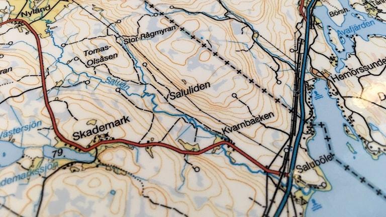 Karta som visar länsgräns västerbotten och västernorrland
