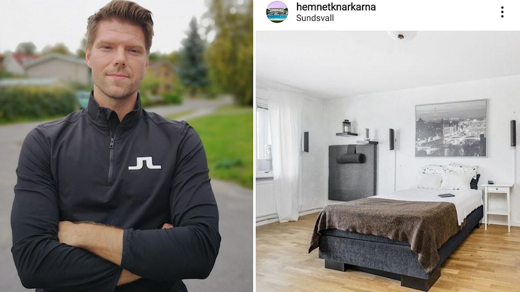 En man med armarna i kors och en bild över ett sovrum där sängen står centrerad i rummet och sänggaveln på väggen vid sidan av.