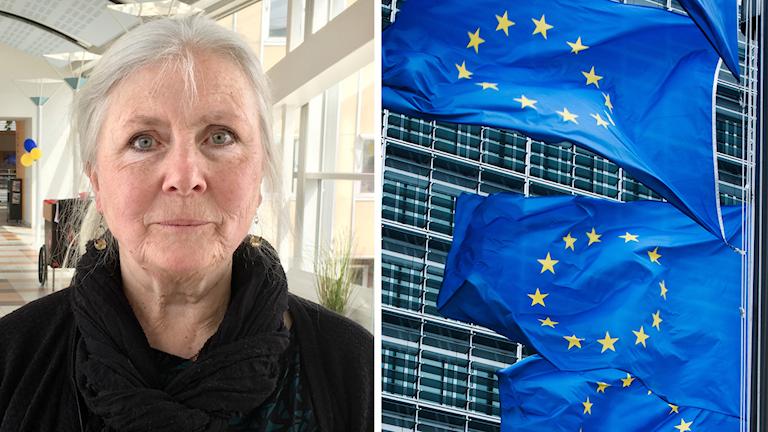 En bild med två motiv. Till vänster syns miljöpartisten Brita Wessinger och till höger syns tre EU-flaggor som vajar i vinden framför ett höghus av stål och glas.