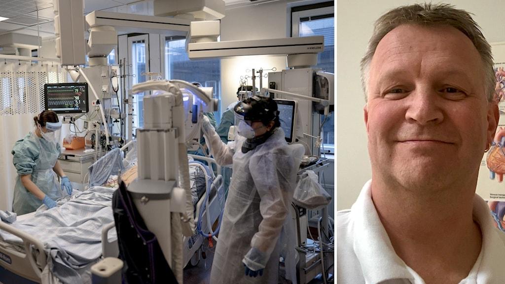 Man med vit tröja och en intensivvårdsavdelning på sjukhus