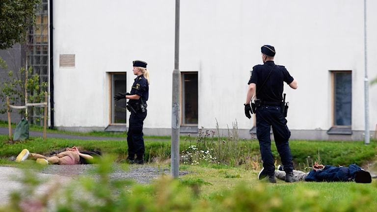 Två gripna ligger på marken med handfängsel och två poliser bevakar. Foto: Sveriges Radio