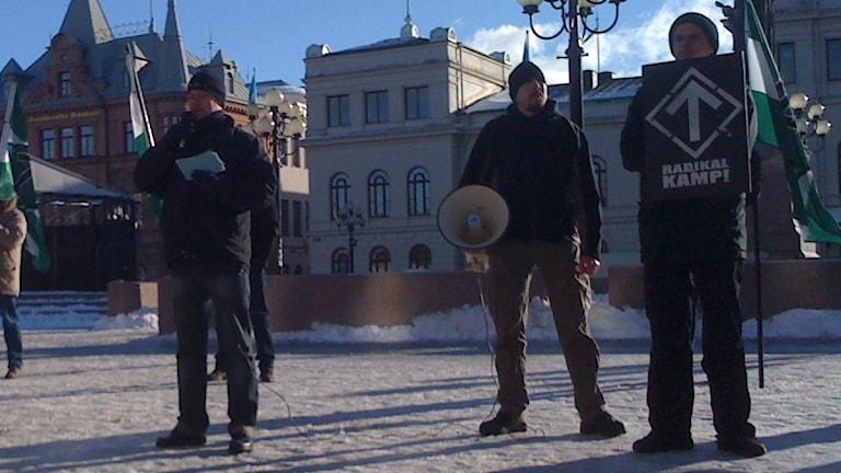 Svenska motståndsrörelsen vid möte i Sundsvall. Foto: Mikael Andersson