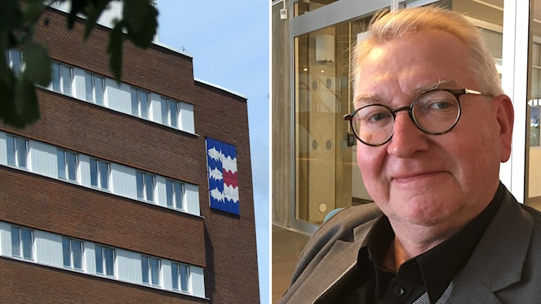 Bildkollage med fasaden på Sundsvalls sjukhus till vänster och Jan Olov Häggström (S), vice ordförande i regionstyrelsen. Foto: Sveriges Radio