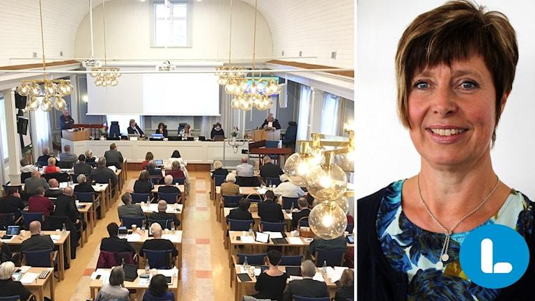 Bildkollage: Ledamöterna sitter bänkade under Regionfullmäktige. Till höger: Ingeborg Wiksten, gruppledare för Liberalerna. Foto: Ulla Öhman och Anna Ahlström/Sveriges Radio