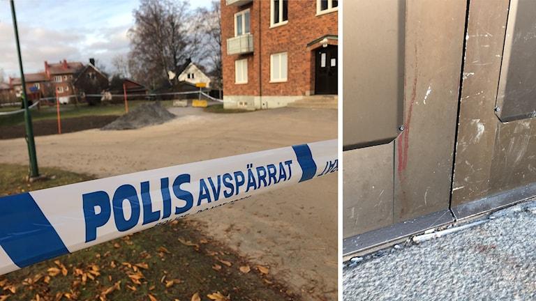 Till vänster en bild med polisavspärrningar utanför lägenhetshuset. Till höger närbild på blodstänk på entrédörren till lägenhetshuset där den misstänkt mördade mannen hittades.