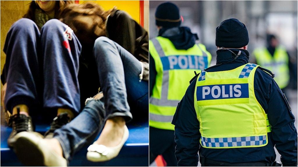 Collage med ungdomar på bänk och poliser på uppdrag.